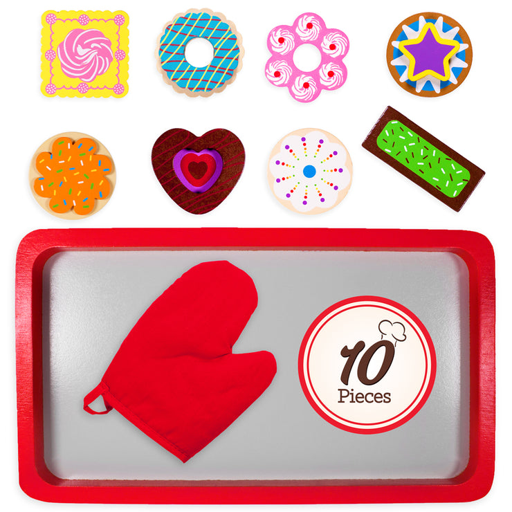 ten piece set with oven tray oven mitt and cookies