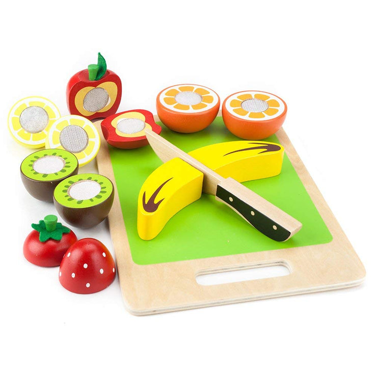 wood eats stem toys fruit slicers with green chopping board