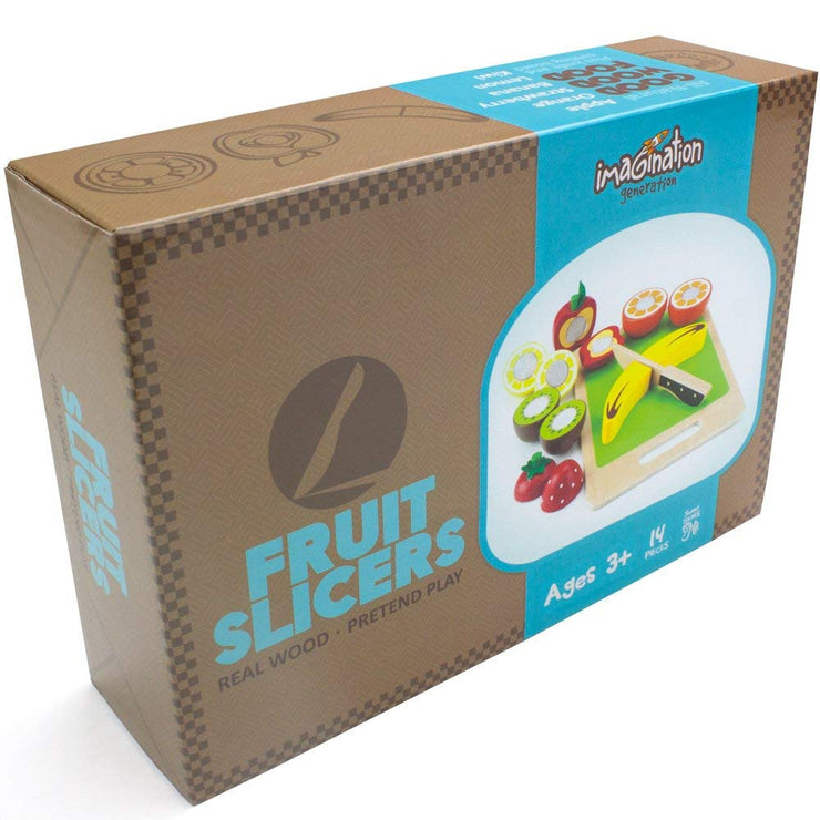 wood eats fruit slicers brown box packaging on white backing