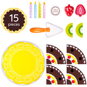 fifteen piece set with candles fruit server plate and cake