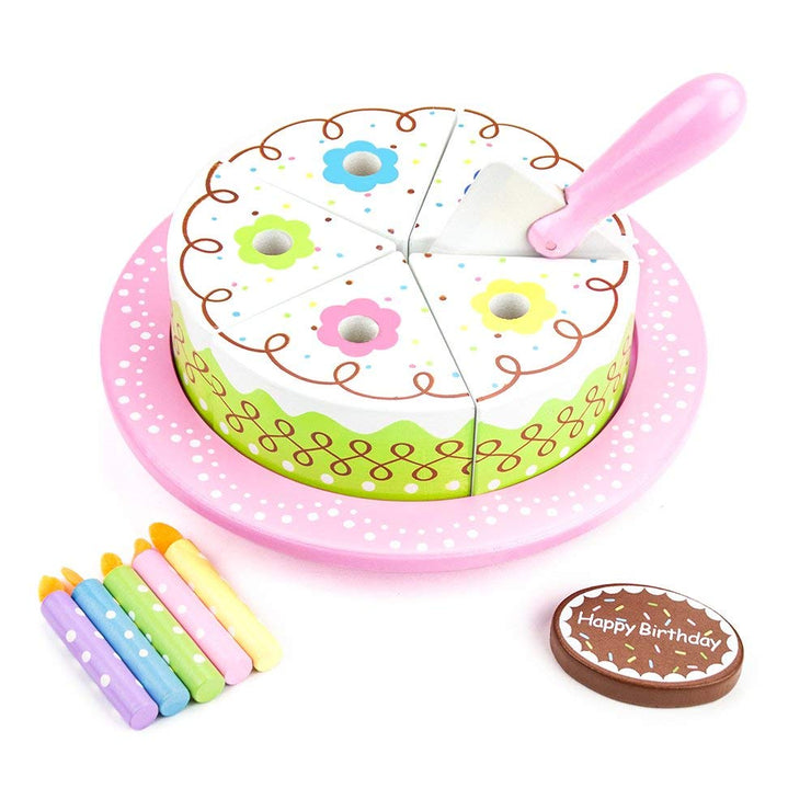 isometric view of wood eats birthday cake and accessories
