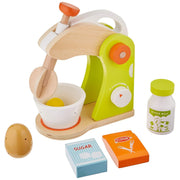 wood eats mixer play set with ingredients on white backing