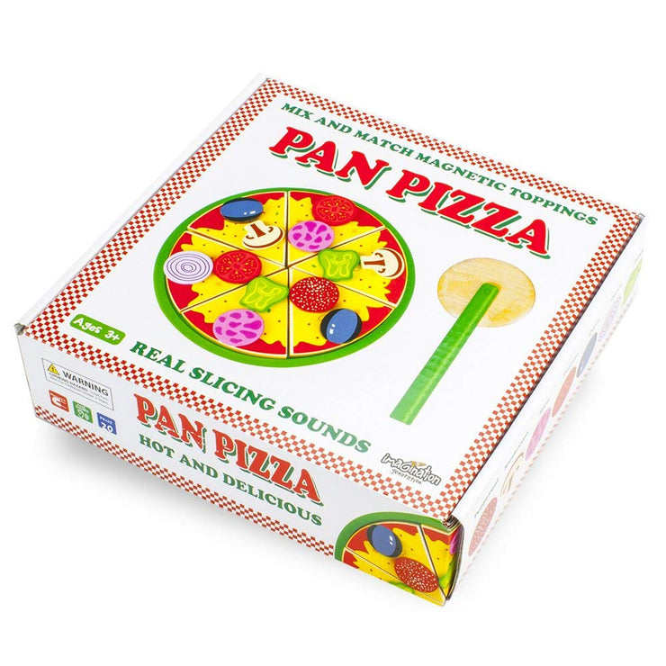 wood eats pan pizza box packaging against a white background