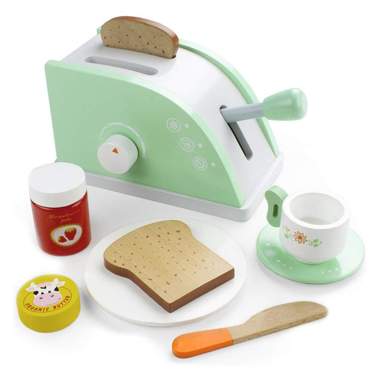 green wood eats toaster playset against a white background