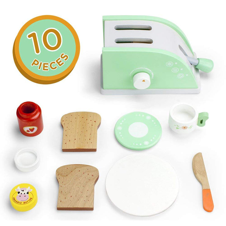 image of pop up toaster jam butter bread knife plate and tea cup