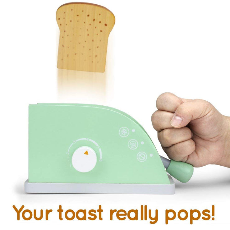 hand slamming the pop up lever on wood eats pop up toaster