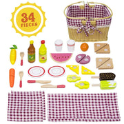 thirty four piece set with condiments basket cutlery fruit veggies and more