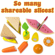 image of a sandwich fruit and veggies text reads so many shareable slices
