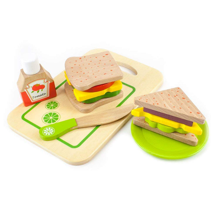 wood eats sandwich displayed as a whole or cut into half