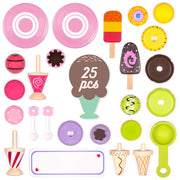 twenty five piece set with popsicles ice cream sandwiches scoop and cones