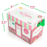 traveling ice cream parlor box packaging displaying dimensions