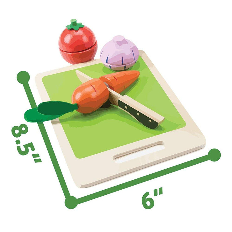 wood eats veggie slicer play set with dimensions displayed
