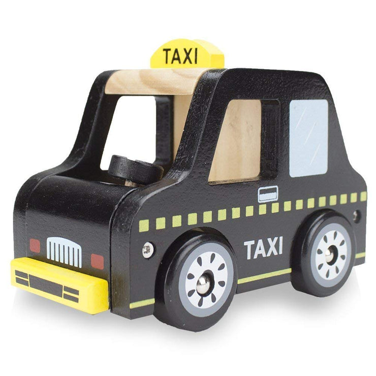 front image of back wooden wheels taxi
