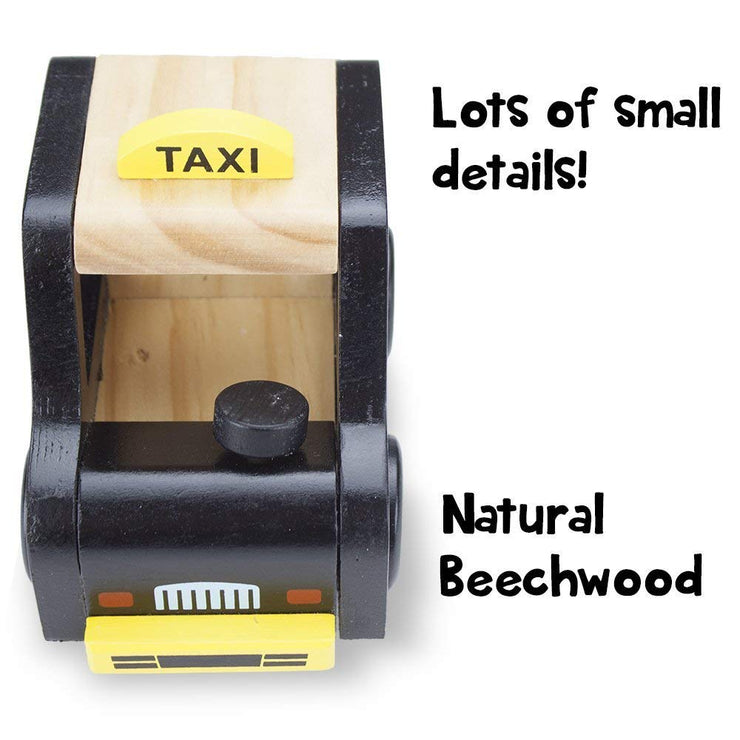 top view of black wooden wheels taxi