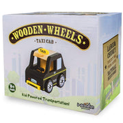 black taxi wooden wheels packing
