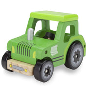wooden wheels green tractor