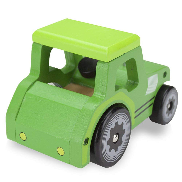 rear view of wooden wheels green tractor