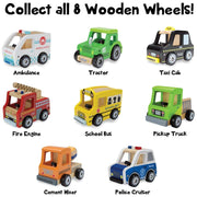 full set of wooden wheels cars on white backing