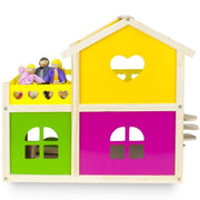 back rear view of Wooden Wonders Cozy Cottage Dollhouse