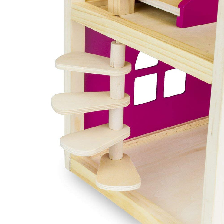 close up of stair case of wooden wonders doll house