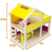 dimension diagram of Wooden Wonders Cozy Cottage Dollhouse