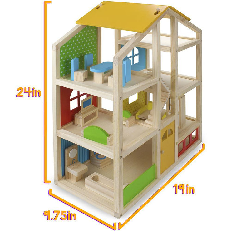 isometric view of wooden dolls house - STEM toys