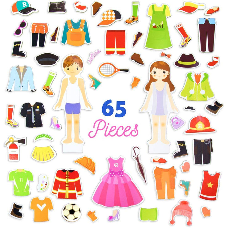 65 pieces of Zoey & Joey Magnetic Dress-up Playset