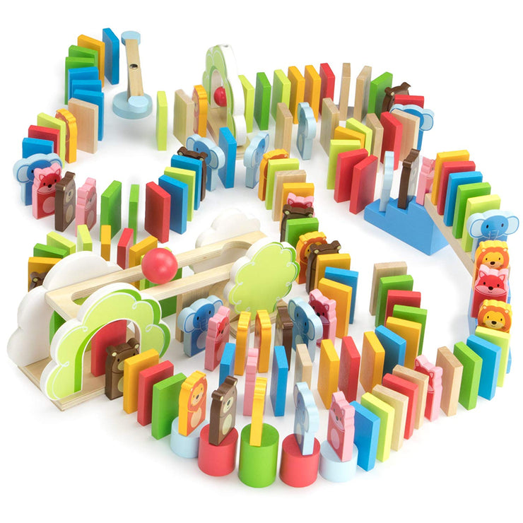 colorful zoo pal dominoes on white backing