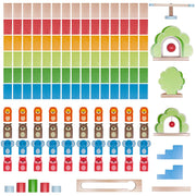 flat layout of colorful zoo pals dominoes