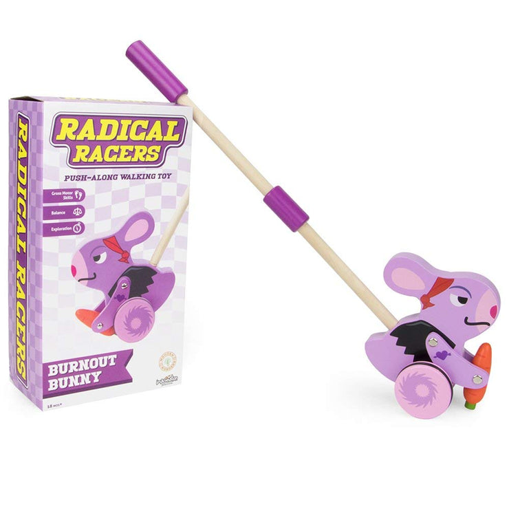 Radical Racers Burnout Bunny next to box packaging