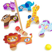 lion monkey hippo elephant giraffe zebra mallet and yellow ball