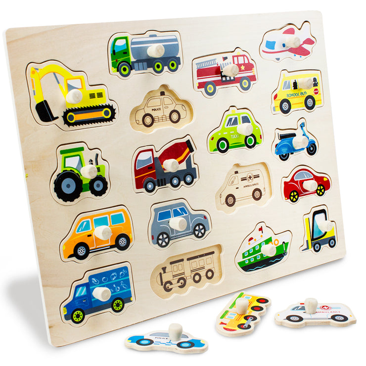 Jumbo People Movers Peg Puzzle with some puzzle pieces removed