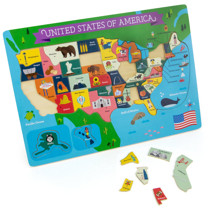 Fifty Nifty USA States Puzzle shown with some puzzle pieces removed