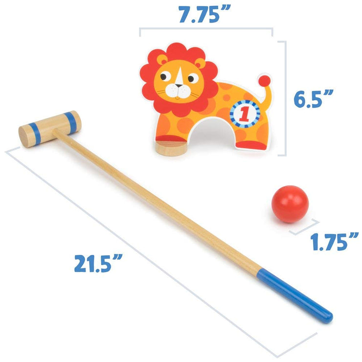 mallet and lion wicket displaying dimensions