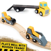 showing Tough Trucks Construction Vehicles compatible with wooden train tracks