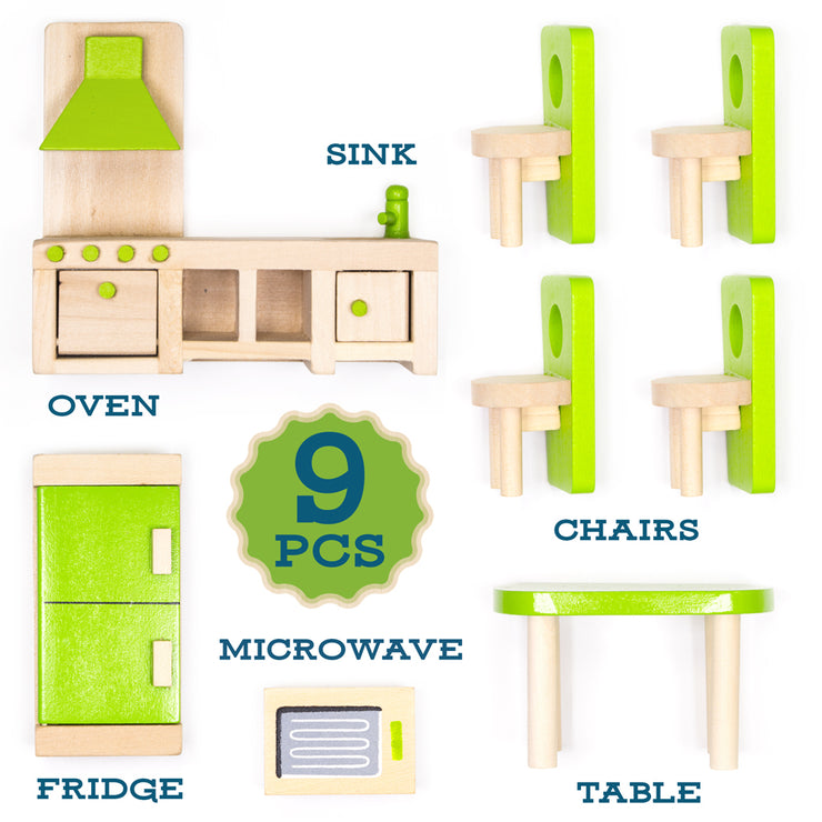 set includes oven sink chairs microwave fridge and table