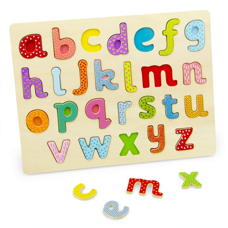 Professor Poplar Lower-case Alphabet Puzzle with pieces on table