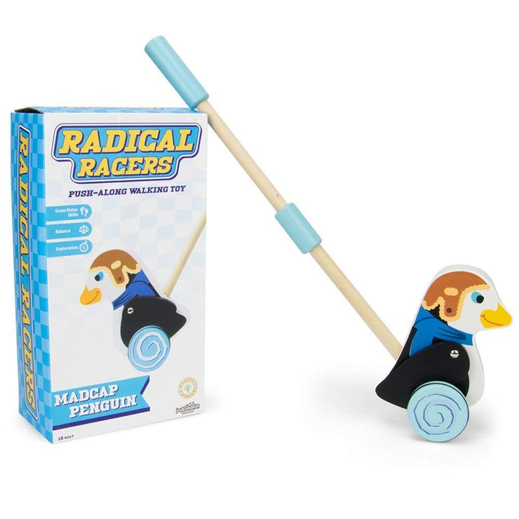 Radical Racers Madcap Penguin next to its box packaging