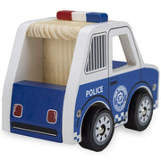 rear of of wooden wheels police car