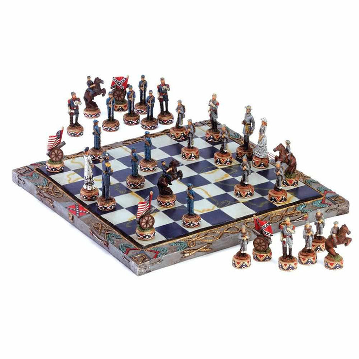 image of a civil war theme chess game in play