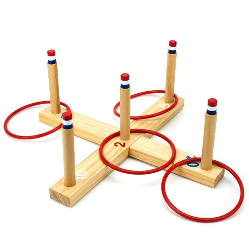 front view of Ring Toss Game - Classic Wooden Set