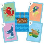 go fish cards displaying a crab fish frog and whale tail