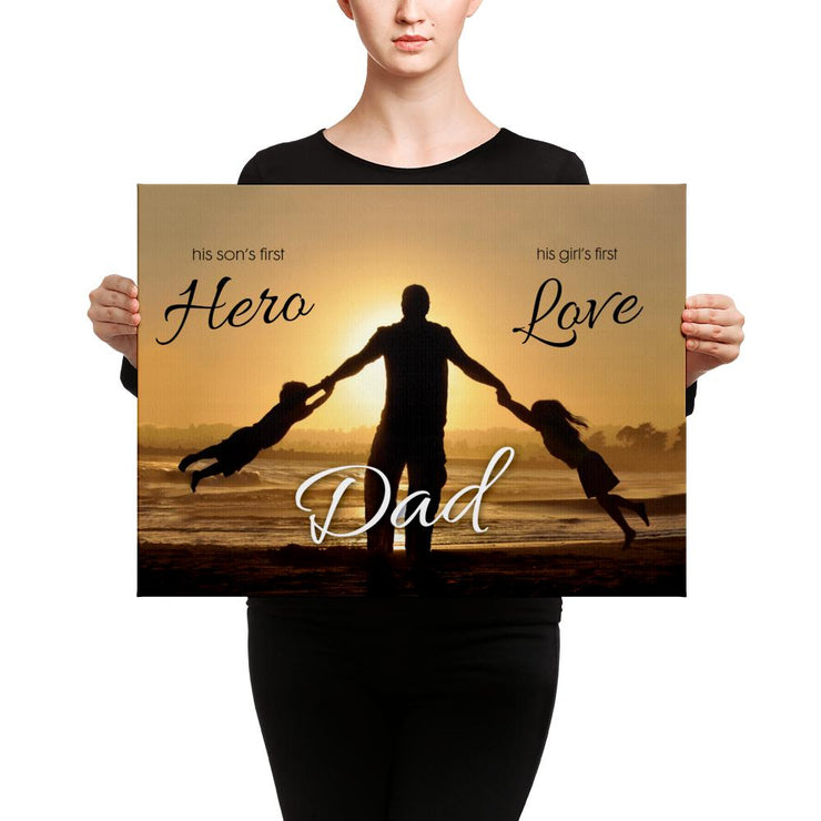 woman in black holding medium canvas about dad being a hero