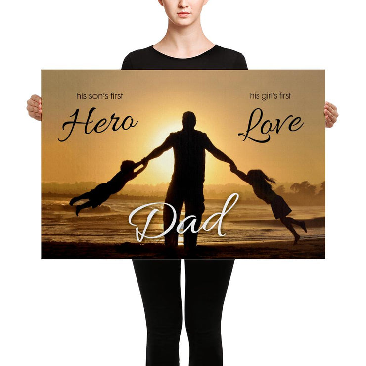 woman in black holding large canvas about dad being a hero