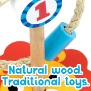 close up of ring toss text reads natural wood - traditional toys