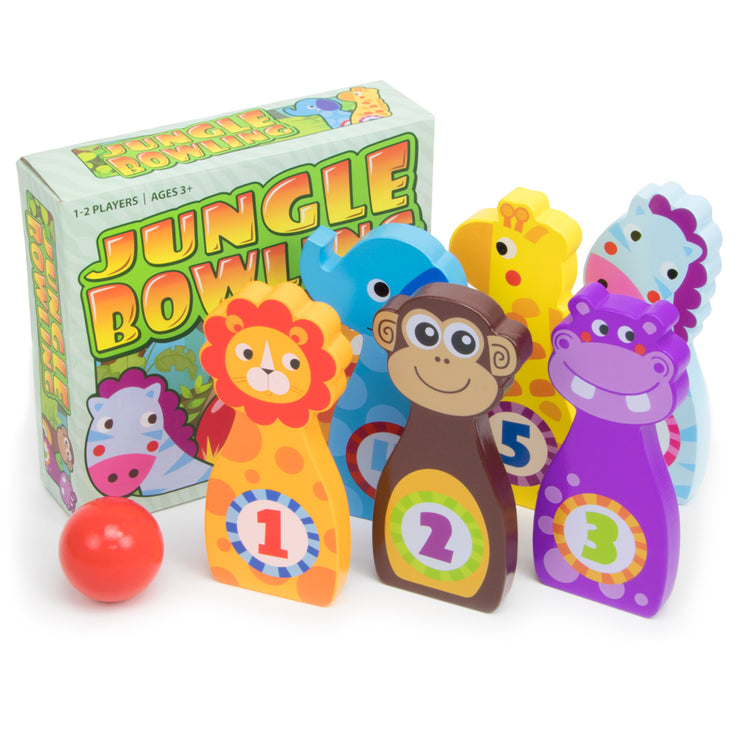 Jungle Bowling animals ball and box packaging