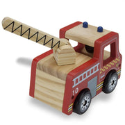 rear view of wooden wheel fire engine