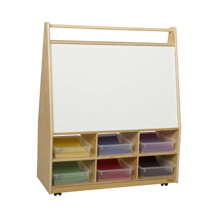 Wood Designs Mobile Literacy Display with Translucent Trays