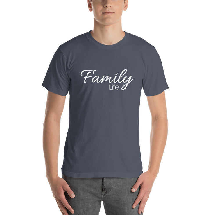 man standing front on with navy t-shirt which says family life