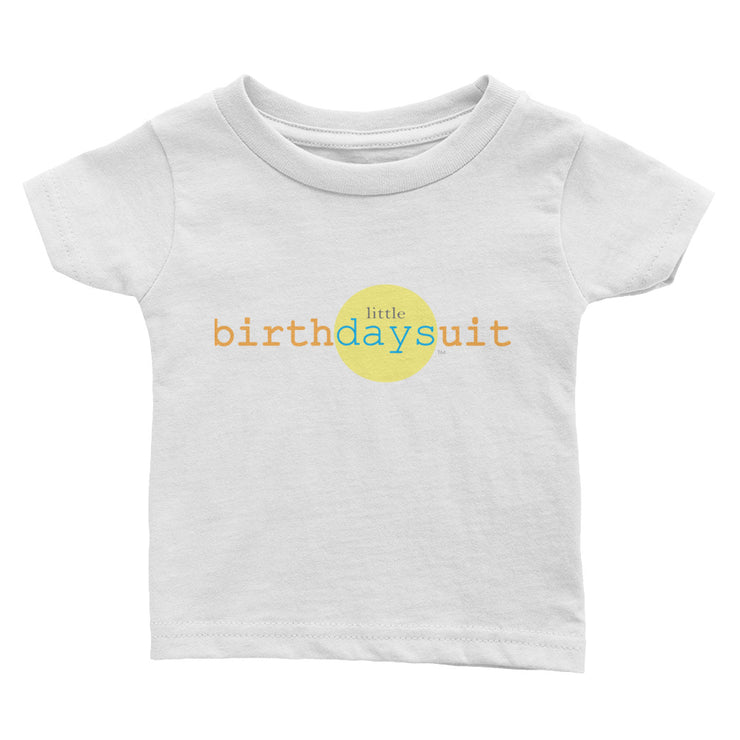 white baby t-shirt front side with little birthday suit logo